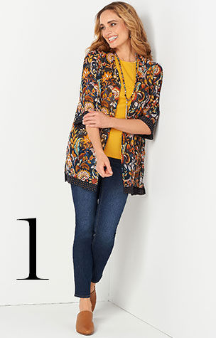 1. Try combining the Everyday Slim Jean with a Foliage Border Print Kimono.