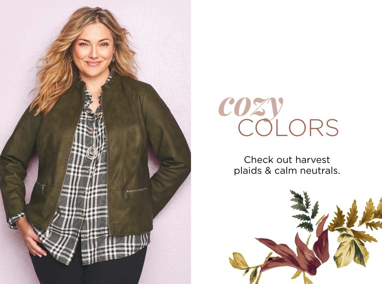 Cozy Colors: Check out harvest plaids & calm neutrals.
