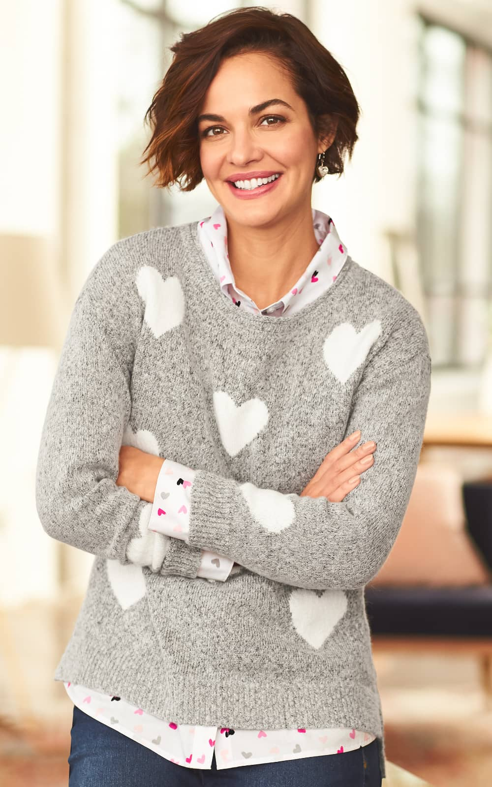The Be Mine Outfit, featuring a heathered hearts pullover sweater, tiny hearts essential shirt, and an everyday slim jean.