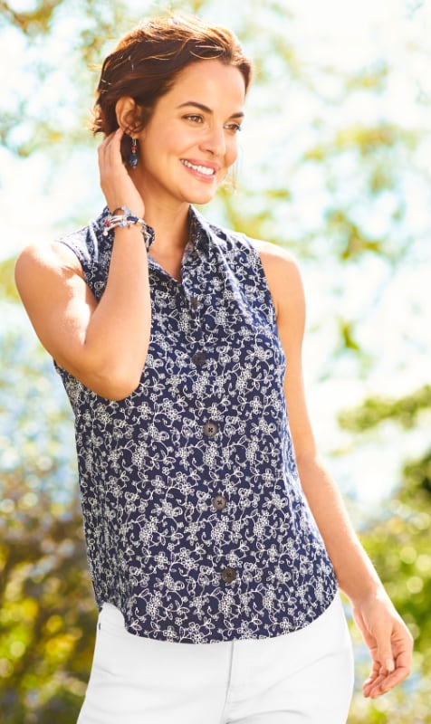 """Our """"Looking Vine"""" Outfit featuring a Viney Floral Linen Blend Top, Signature Slimming Ankle Jean, and a set of Metal and Bead Drop Earrings."""