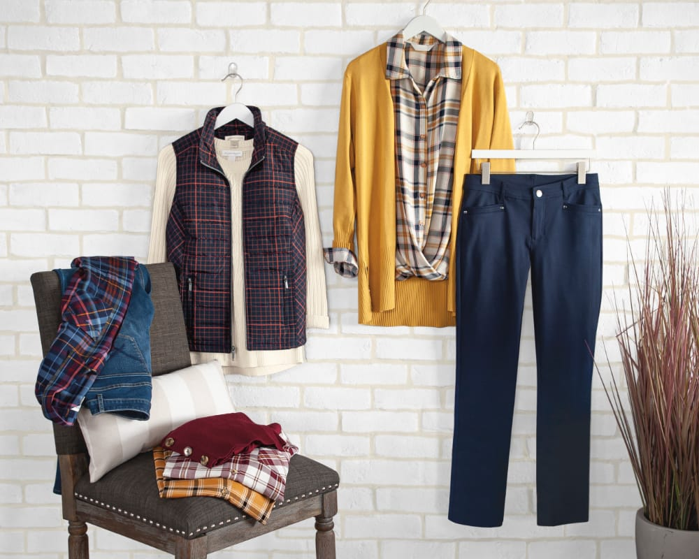 A selection of our fall styles: mix-and-match plaids and textured sweaters.
