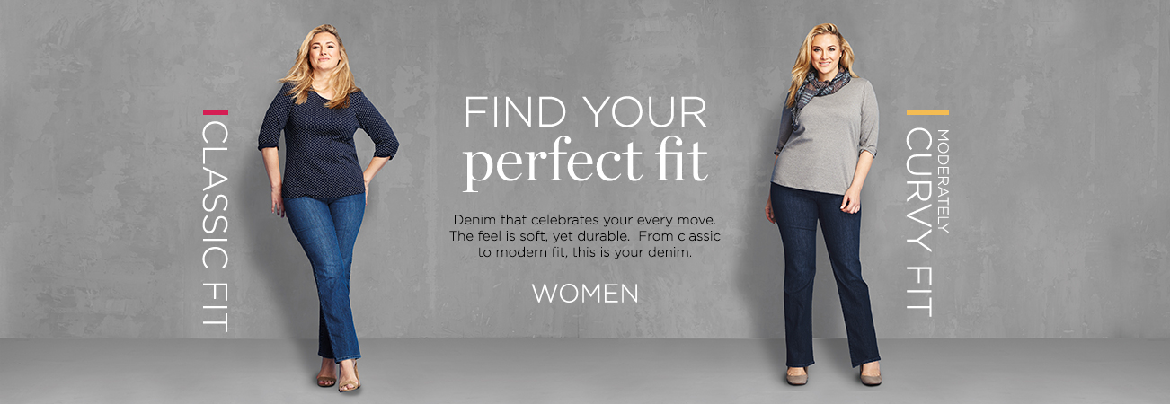 Christopher & Banks® | cj banks® Misses, Petite and Plus Size Women's Clothing Category - Women Denim Fit - Women: Find Your Perfect Fit! Denim that celebrates your every move. The feel is soft, yet durable. From classic to modern fit, this is your denim. Classic Fit | Moderately Curvy Fit.