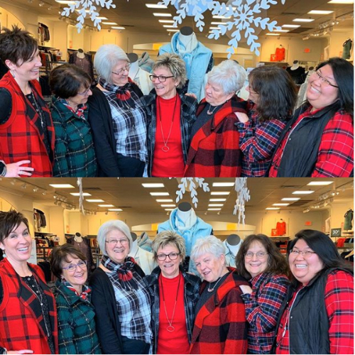 A group of customers wearing a variety of plaid featuring the Plaid reversible sweater vest, buffalo plaid hooded coatigan, and drapey plaid shirts.