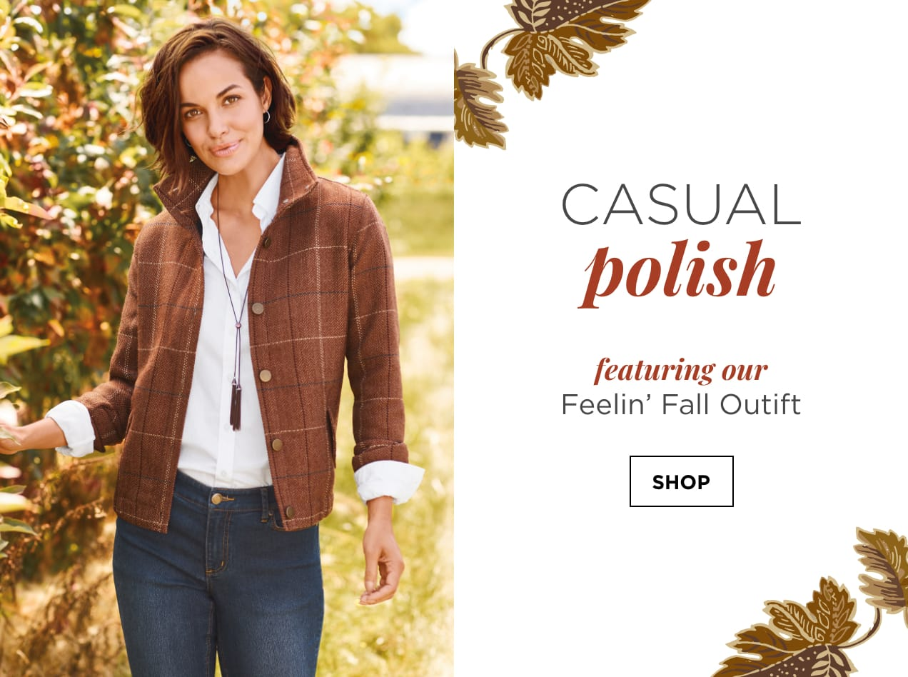 """Casual Polish. Featuring our """"Feelin' Fall"""" Outfit: including the Perfect Shirt, Herringbone Plaid Trucker Jacket, Everyday Straight Jean Average Straight Fit, Oblong Drop Earrings, and a Long Tassel Lariat Necklace. Shop."""