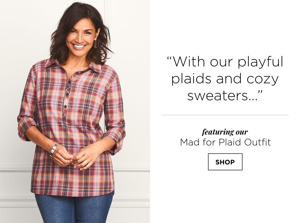 """With our playful plaids and cozy sweaters..."" featuring our Mad for Plaid Outfit. SHOP."