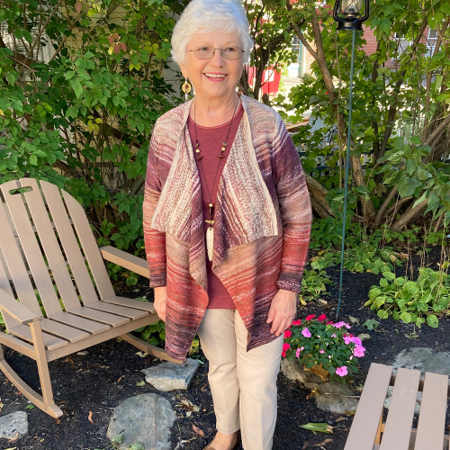 A Christopher & Banks Customer wearing a Multi Color Cascading Cardigan