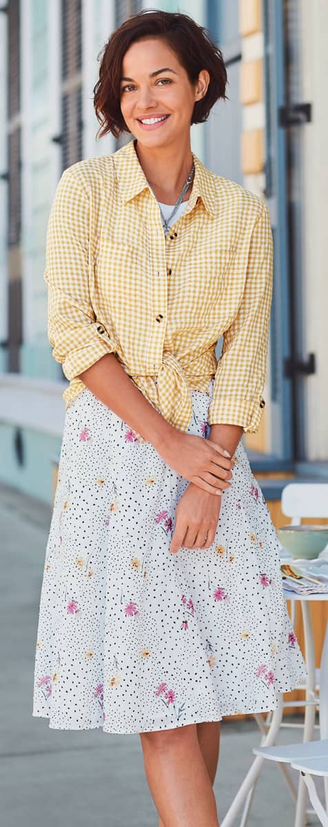 """The """"Gingham Shirt"""" Outfit featuring our Gingham Button-Up Shirt and a Clip Dot Floral Skirt."""