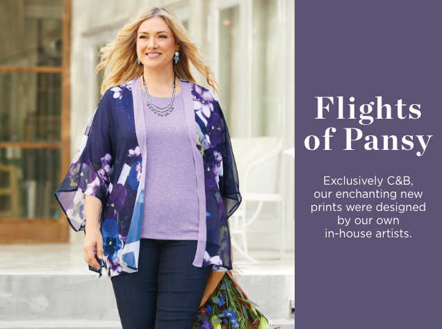 Flights of Pansy. Exclusively Christopher & Banks, our enchanting, new prints were designed by our own in-house artists.