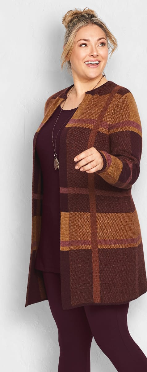 The Plaid Intentions Outfit: The Plaid Coatigan sweater, slub layering tunic, ponte legging, with a long leaf pendant necklace.