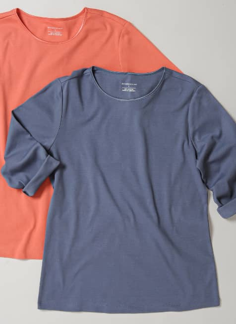 "The Christopher & Banks ""Sleeve Satin Trim Perfect Tees""."
