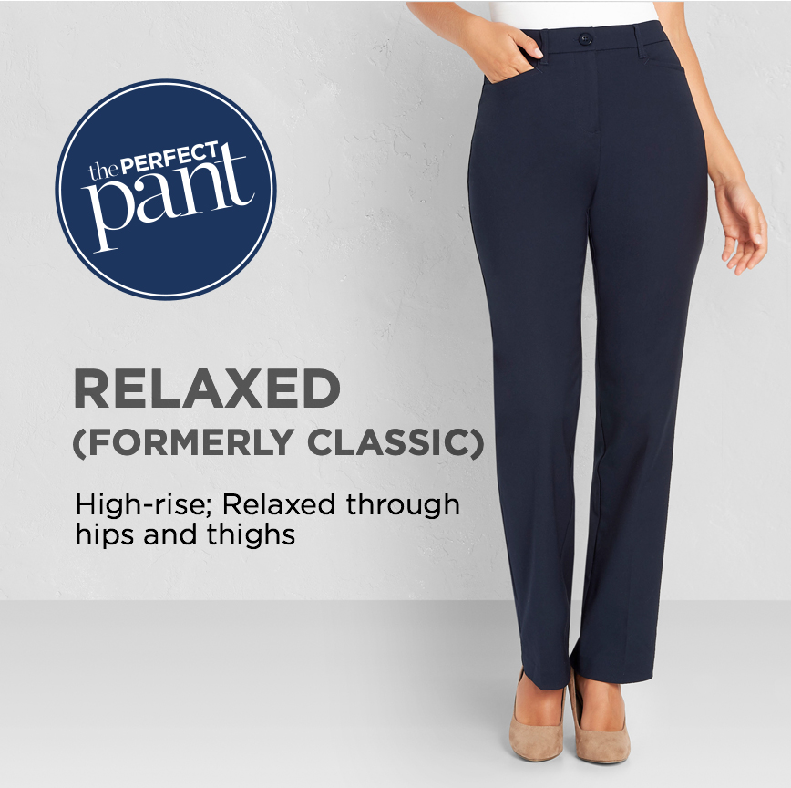 """The Perfect Jean. Relaxed (Formerly """"Classic""""): Relaxed through hips and thighs."""