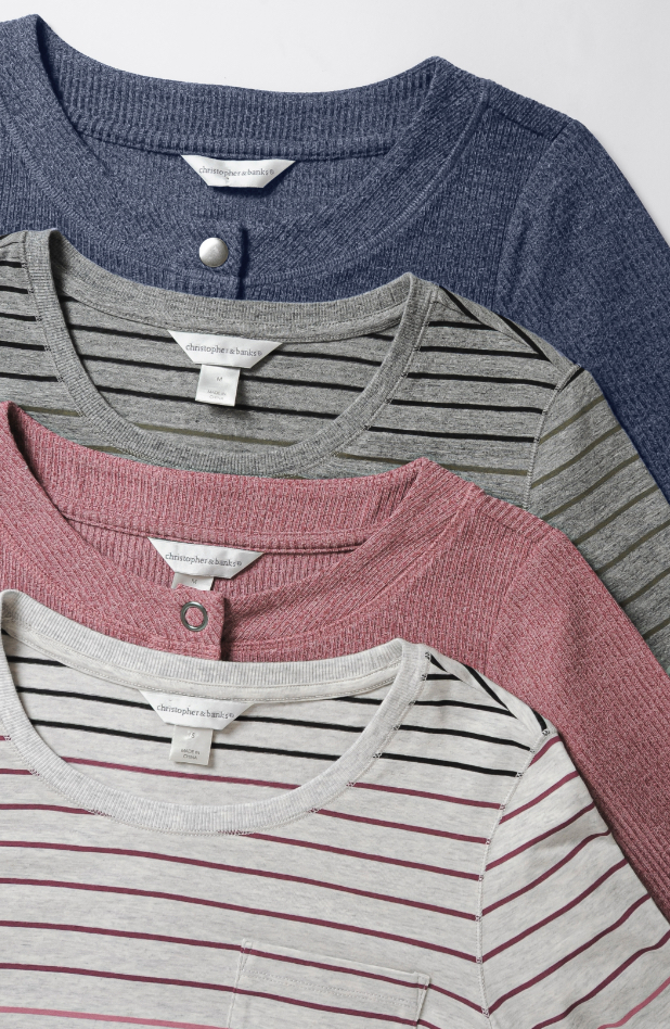 relaxed.Restyled.®: the Button Texture Tee and the Printed Ombré Stripe Tee.