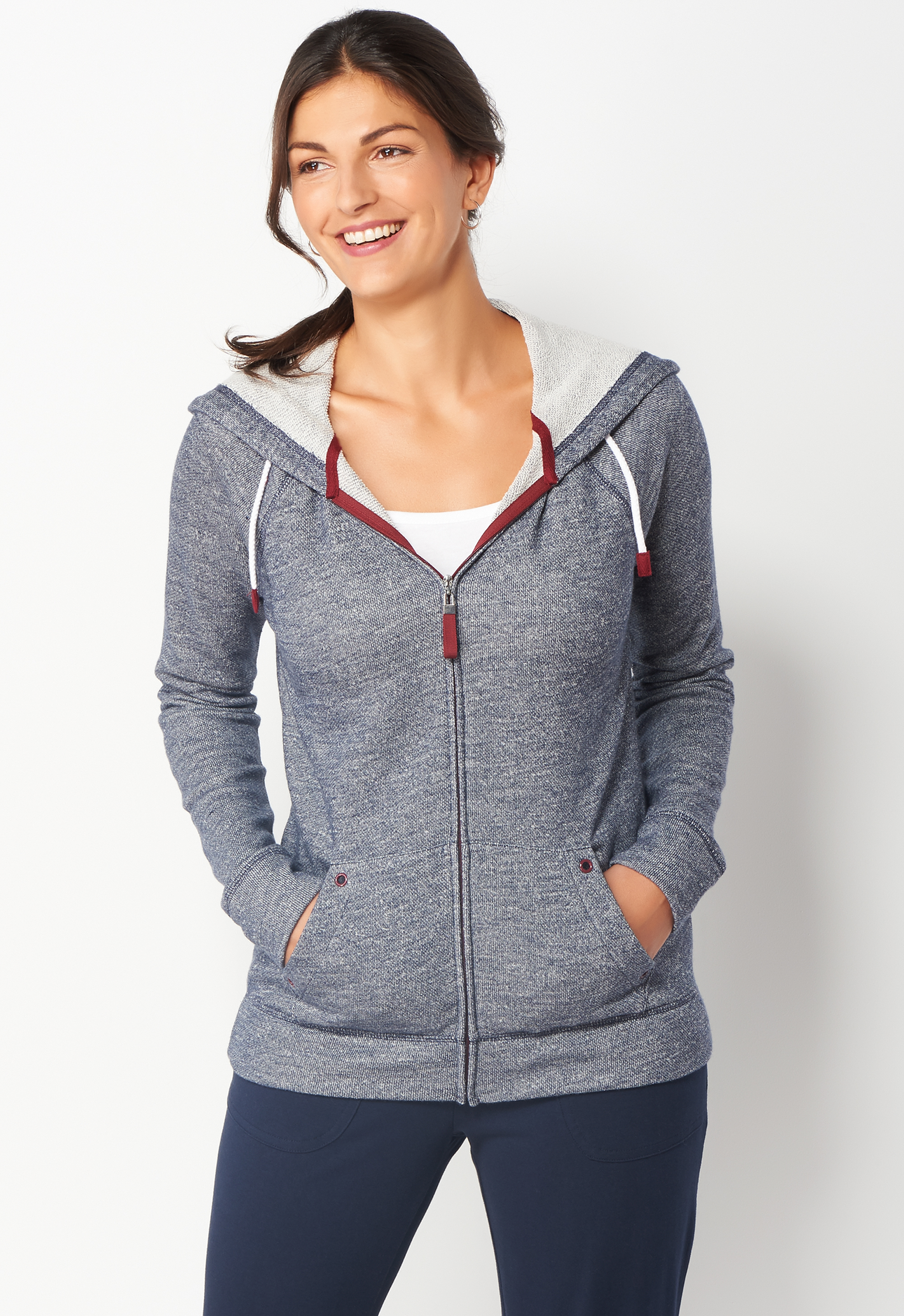 Relaxed Restyled French Terry Petite Zip Up Hoodie - Blue - Christopher & Banks 0036763205