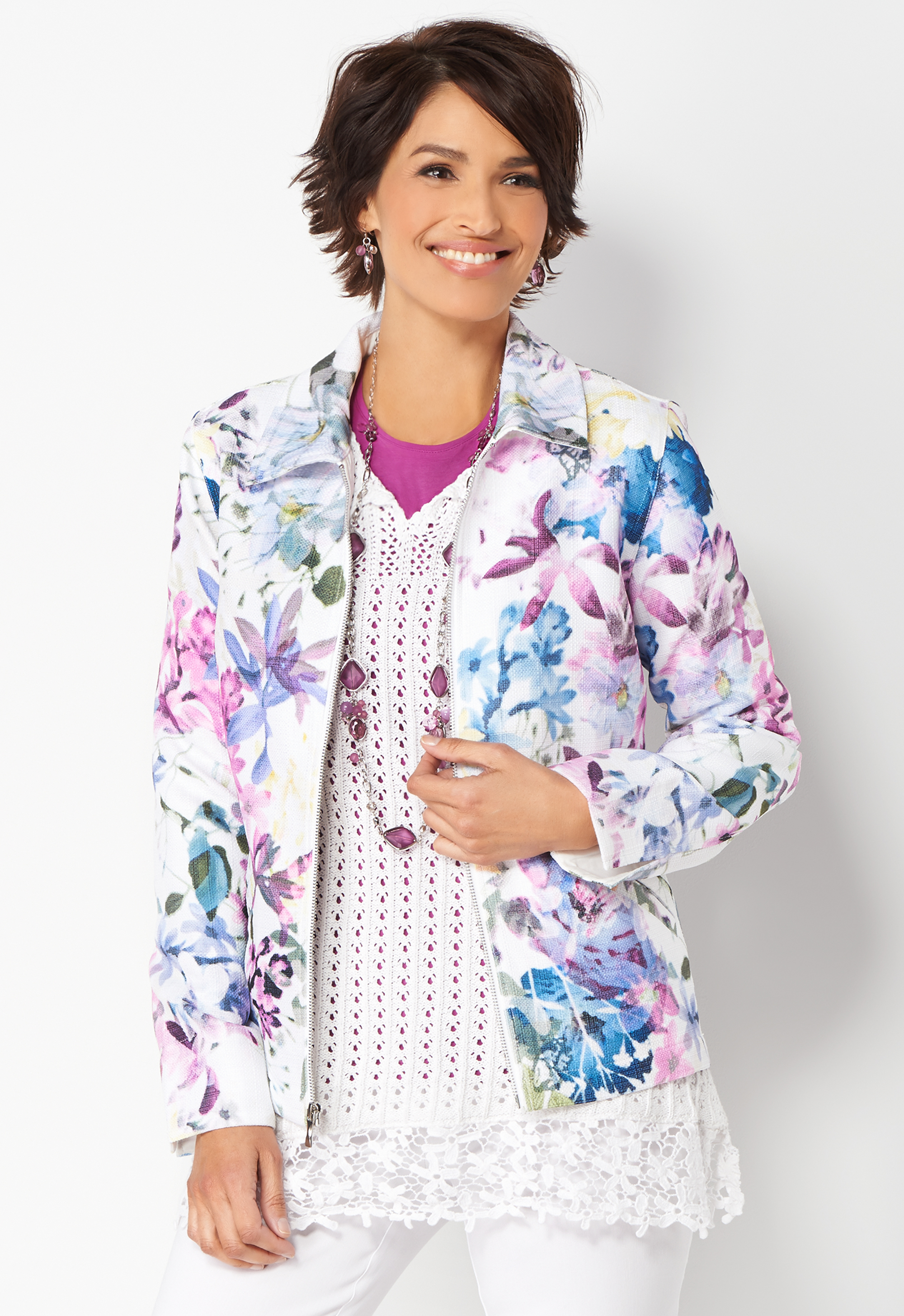 Iconic Floral Jacket - White - Christopher & Banks 0036969431