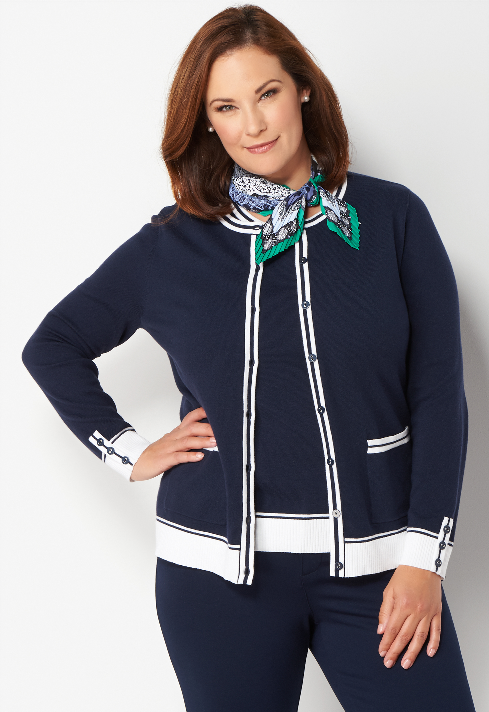 Vintage Sweaters: Cable Knit, Fair Isle Cardigans & Sweaters Plus Size Tipped Perfect Cardigan Plus Size Sweater - Blue - Christopher  Banks CJ Banks $49.95 AT vintagedancer.com