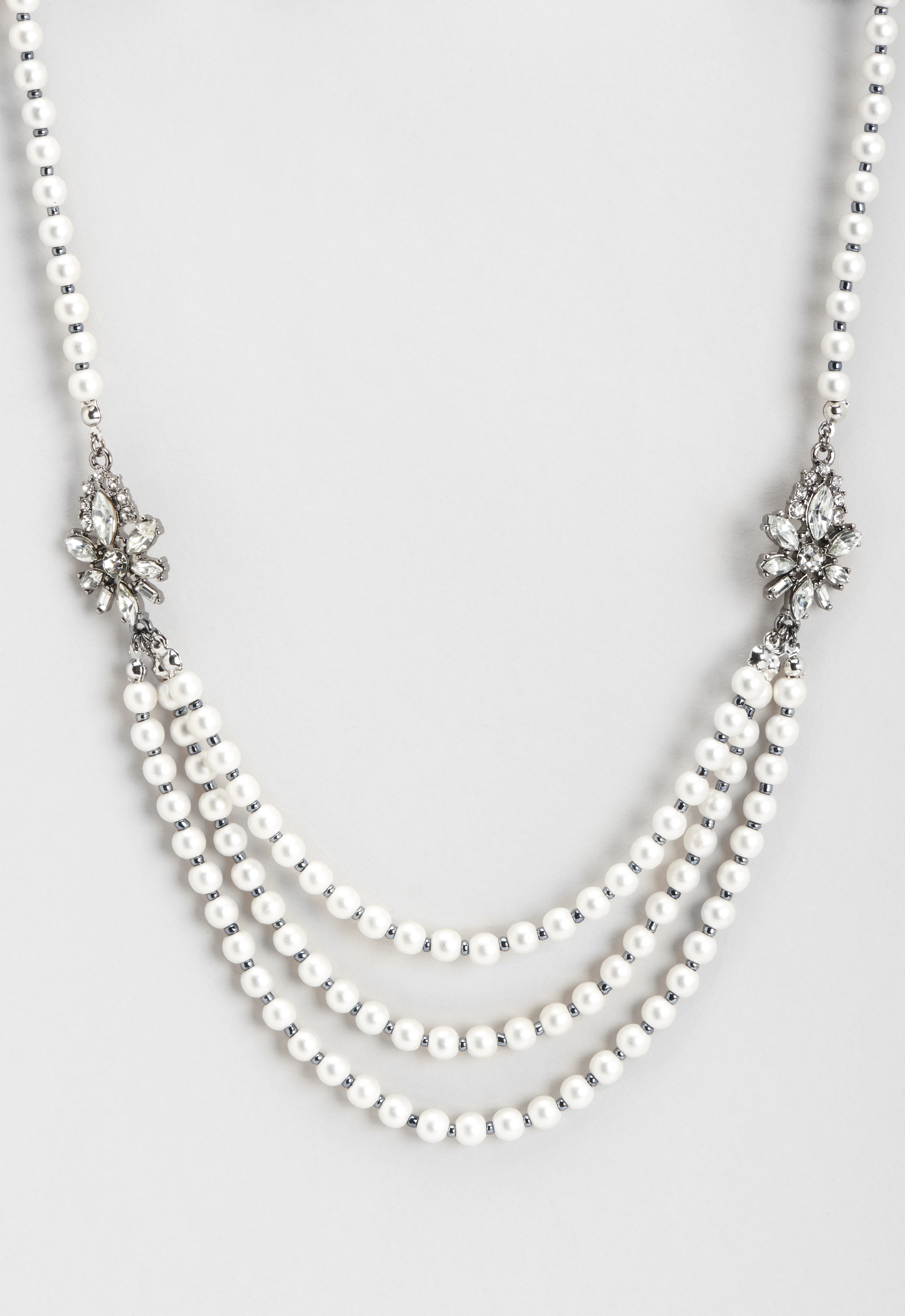 New 1920s Costume Jewelry- Earrings, Necklaces, Bracelets Strand Jeweled Pearl Necklace - White - Christopher  Banks $22.95 AT vintagedancer.com