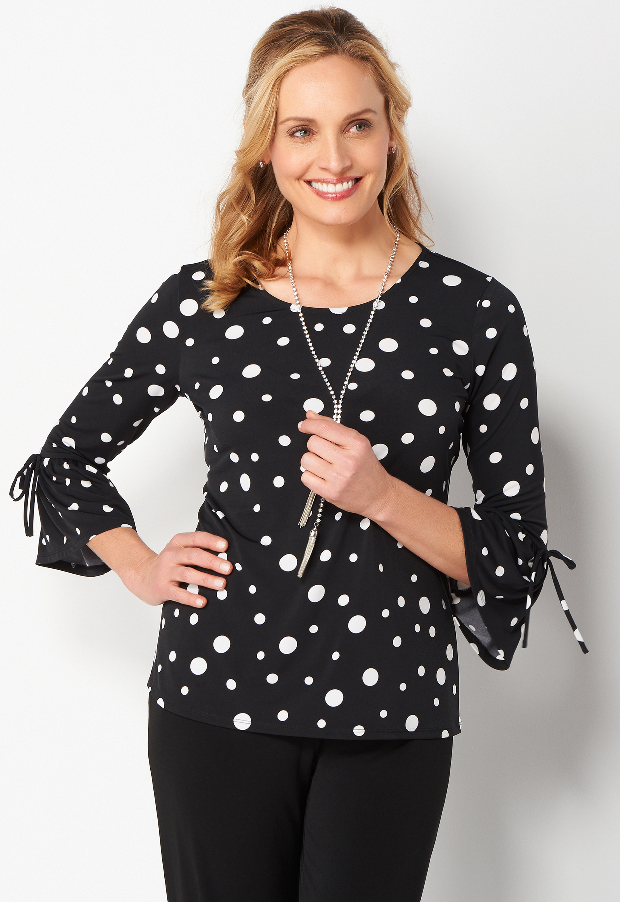 Vintage & Retro Shirts, Halter Tops, Blouses Easy Wear Polka Dot Bell Sleeve Top - BlackWhite - Christopher  Banks $44.95 AT vintagedancer.com