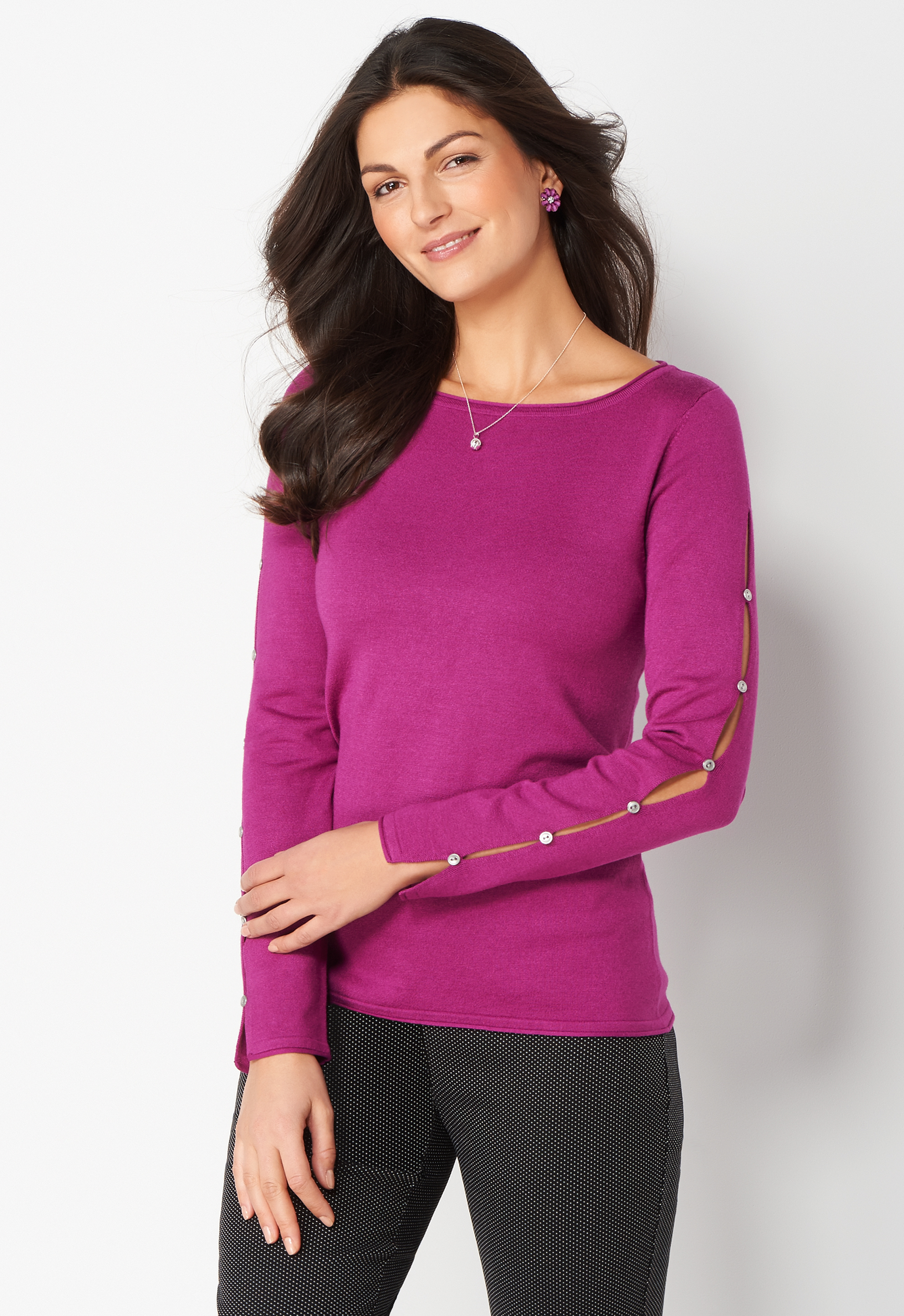 Solid Long Sleeve Pullover Sweater - Magenta Bloom - Christopher & Banks 0037008397