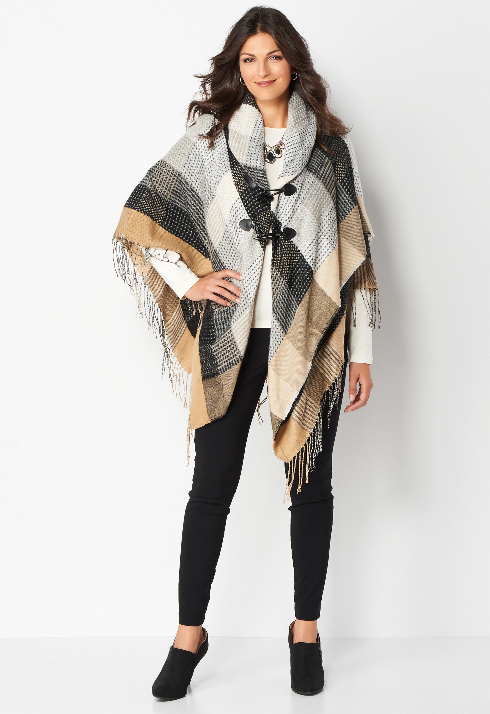 Cross weave Toggle Poncho - Black - Christopher & Banks 0036789174