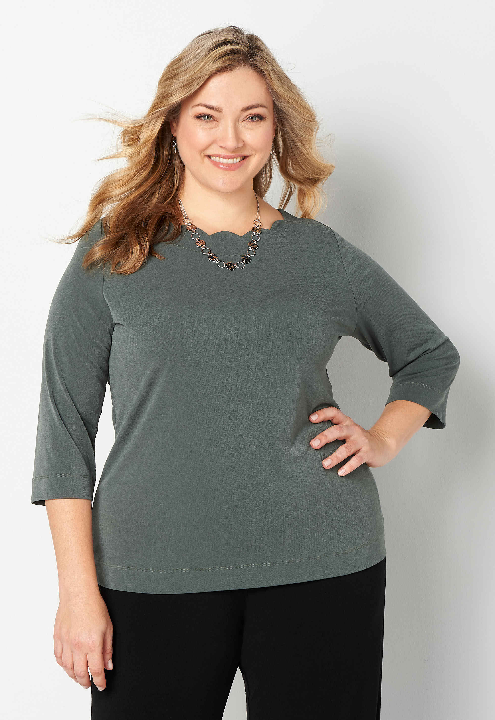 Easy Wear Scallop Knit Crepe Boatneck Plus Size Top