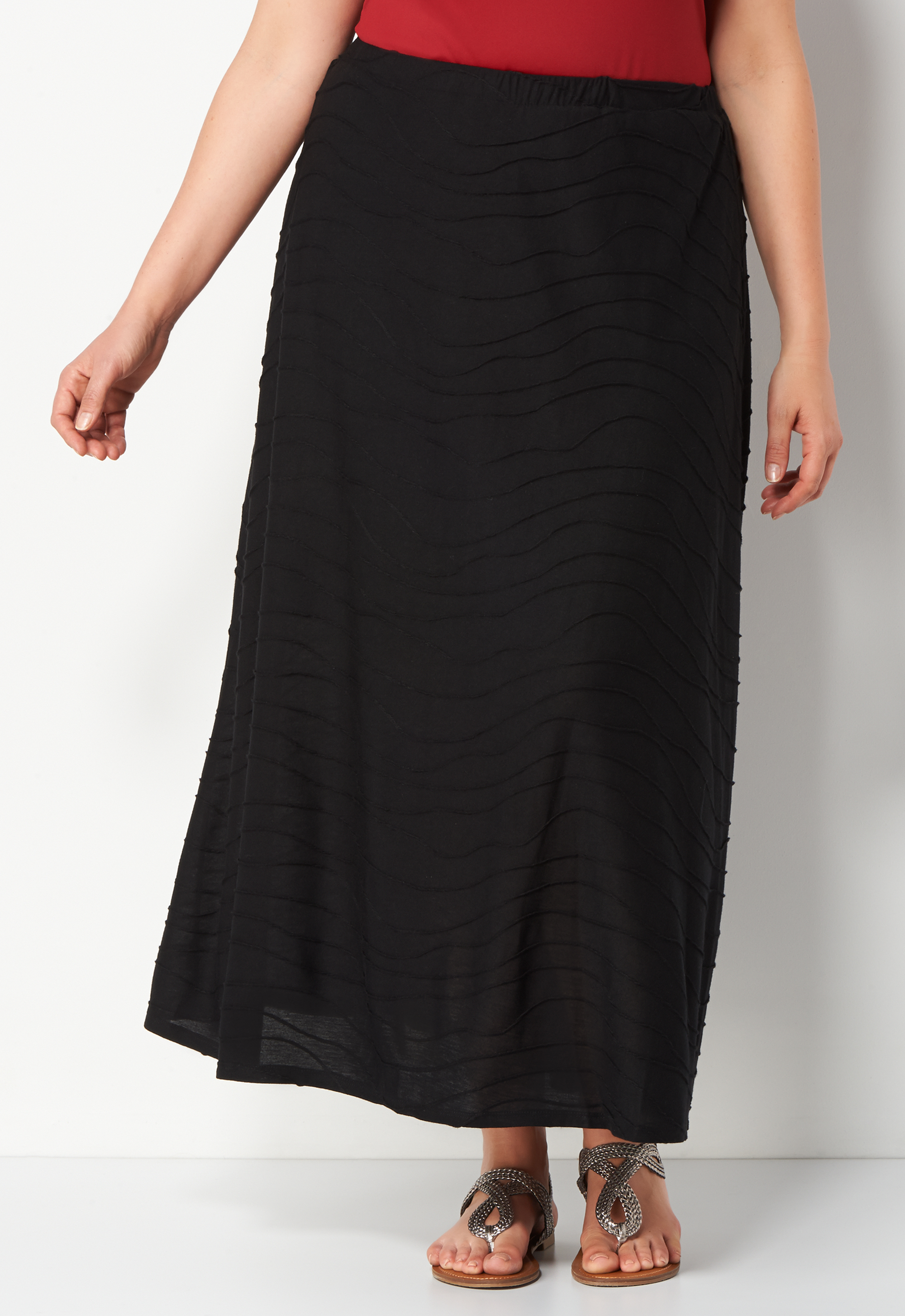 Plus Size Wavy Knit Plus Size Skirt - Black - Christopher & Banks CJ Banks 0036510323