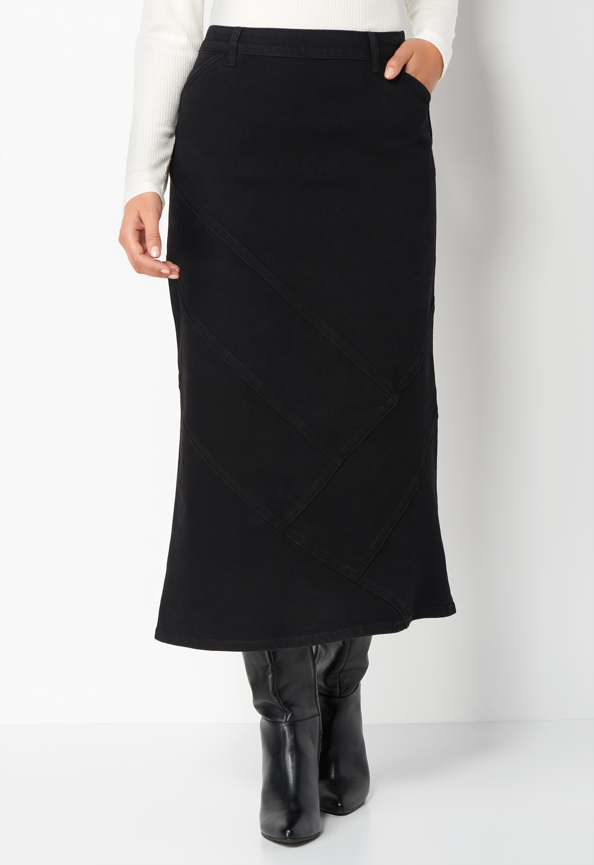 Retro Skirts: Vintage, Pencil, Circle, & Plus Sizes Long Seamed Colored Petite Denim Skirt - Black - Christopher  Banks $44.95 AT vintagedancer.com