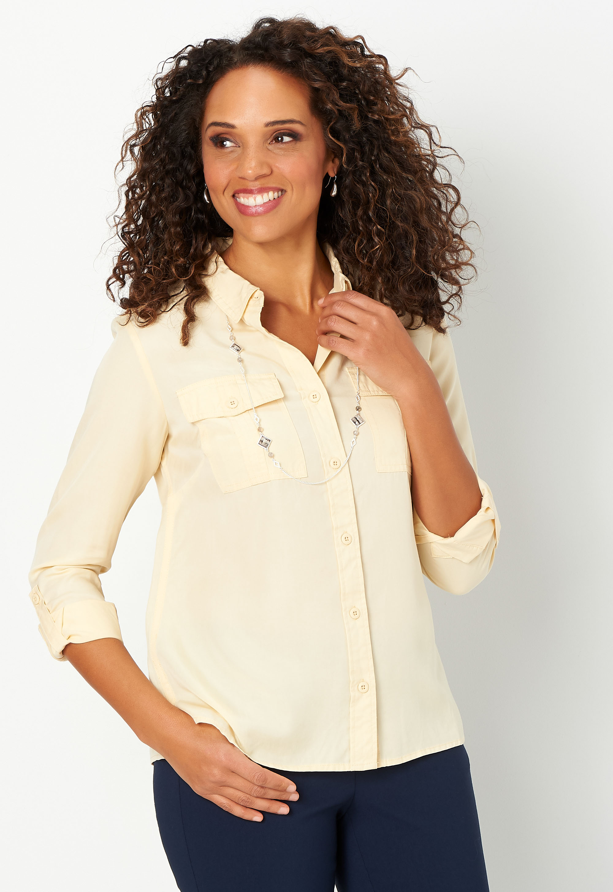Solid Lyocell Button Up Shirt