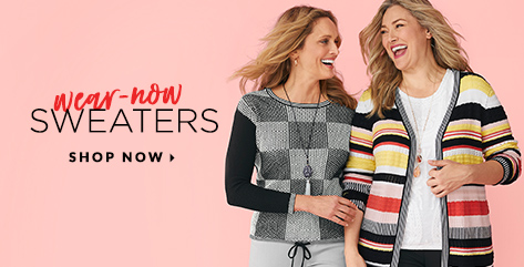 Wear-Now Sweaters. Shop Now.