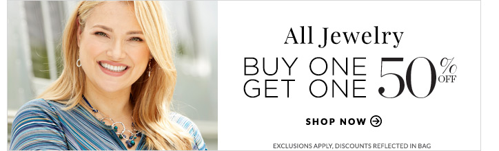 All Jewelry: Buy One, Get One 50% Off! Shop Now. Exclusions Apply. Discounts Reflected In Bag.